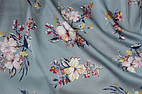 Ткань шелк армани цветы фон серый, фото 1