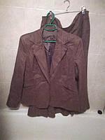 Костюм женский двойка кофейный пиджак юбка 18-20 52-54 XL, фото 1