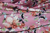 Ткань шелк армани цветы чайная роза, фото 1