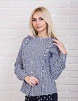 Молодежная клетчатая блузка с рюшами