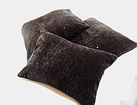 Комплект подушек Плюш шоколад с паетками, 3шт, фото 1