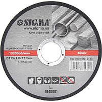 Круг отрезной по металлу Sigma Ø115x1.0x22.2мм, 13300об/мин (1940001)