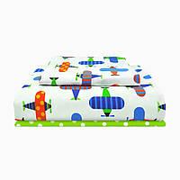 """Детский постельный комплект """"самолеты с зеленым"""" COSAS бязь 110х140"""