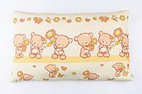 """Подушка детская 60*40 жёлтого цвета """"Мишка с цветочком"""""""