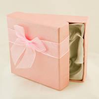 Подарочная Упаковка 9х9х2.7см, с Лентой Органза, для Браслетов, Розовый, Длина 9см, Ширина 9см, Толщина 2.7см, (УТ000004537)