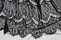 Ткань гипюр реснички черные, фото 1