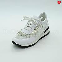 Женские кроссовки белая кожа гипюр, фото 1