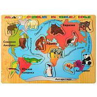 Деревянная игрушка Рамка-вкладыш, карта+животные, в пак. 29,5*21,5*0,5см (144шт)