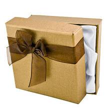 Подарочная Коробочка 9х9х2.7см, с Лентой Органза, для Браслетов, Коричневый, (УТ000004535)