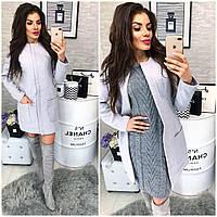 Новинка! Пальто кашемир женское, модель  808,  светло серый, фото 1