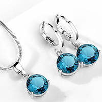 Комплект ювелирной бижутерии с синими кристаллами., фото 1