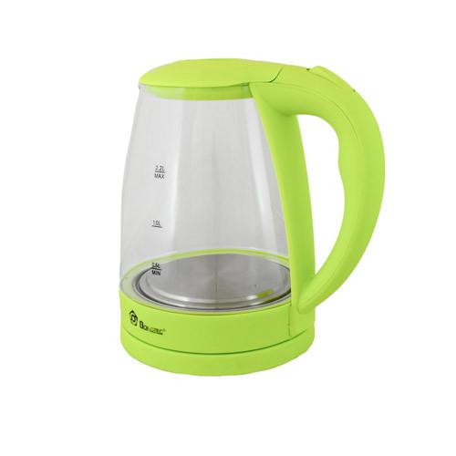 Електрочайник з підсвічуванням на 2,2 літра DOMOTEC MS-8212 Light Gree элекстрический скляний чайник