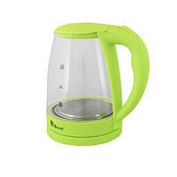 Электрочайник с подсветкой на 2,2 литра DOMOTEC MS-8212 Light Gree элекстрический чайник стеклянный