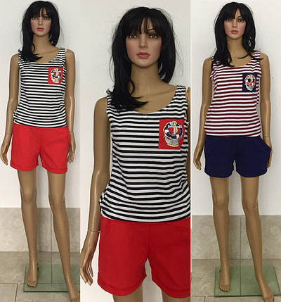 6212b06fc727 Костюм майка с шортами для дома или пляжа Морячка с нашивкой 44-52 р ...