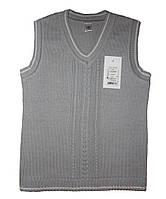 Школьный хлопковый жилет для мальчика, рост 128-134 см (серый цвет)