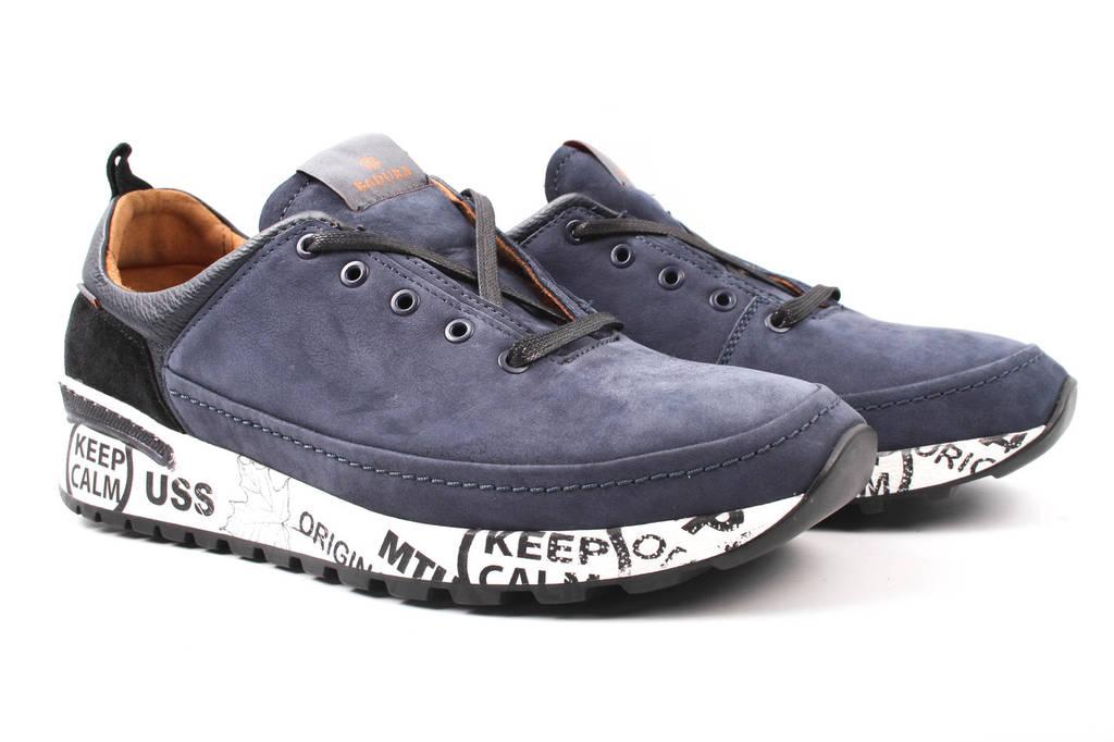 Туфли мужские Badura нубук, цвет синий (мокасины, платформа, весна\осень, Польша)