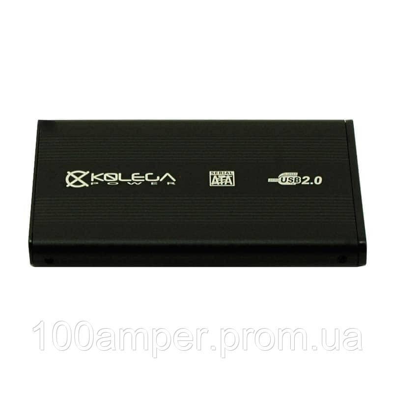 """Внешний карман для HDD SATA 2.5"""" USB 2.0 (алюминиевый) Kolega-Power (Черный)"""