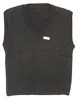Вязаный жилет чёрного цвета, рост 122 см, фото 1