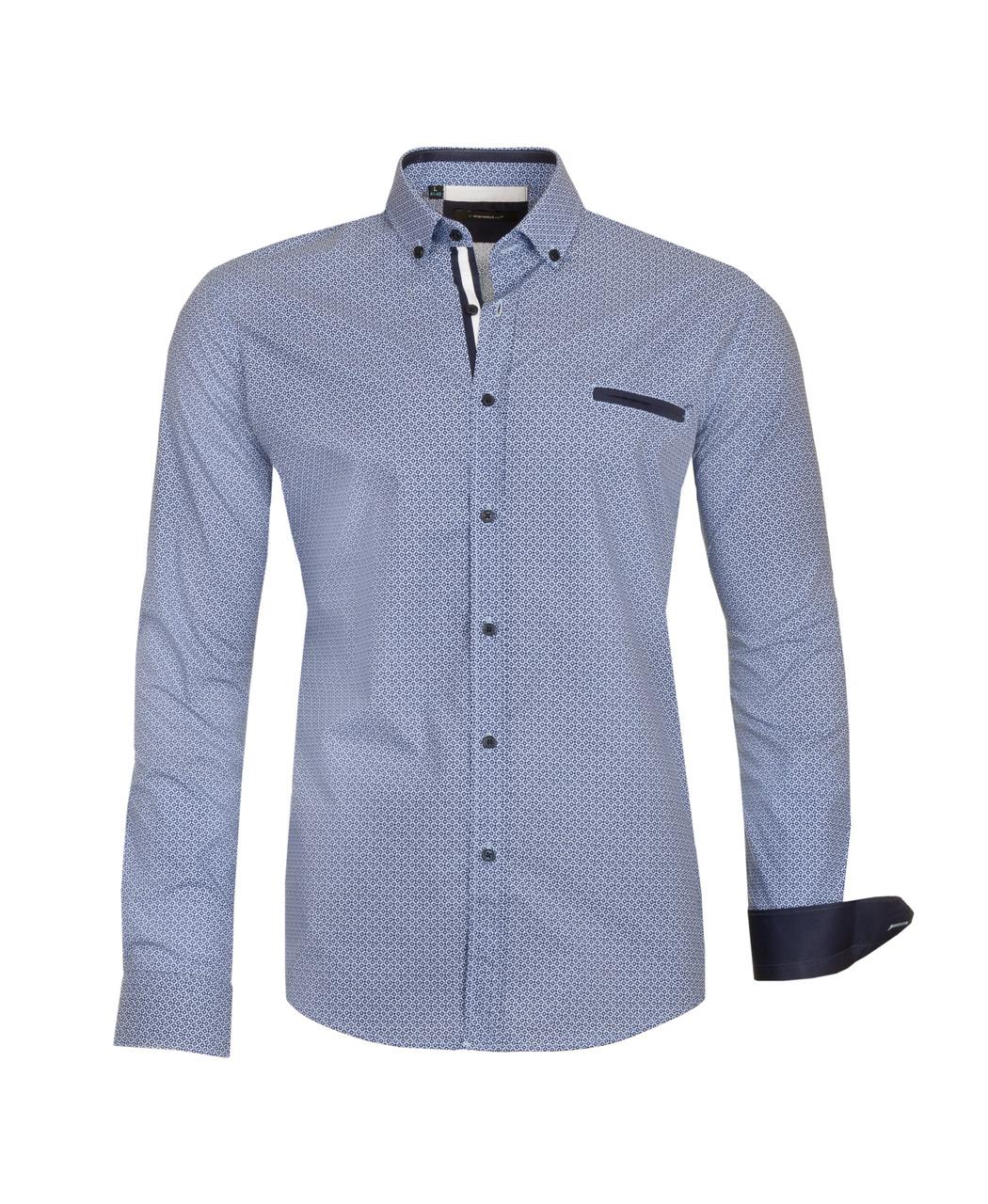 Рубашка мужская TOMI голубая с синим узором