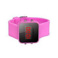 Спортивные светодиодные цифровые наручные часы розовые 9817