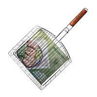 Двойная Хромированная Решетка-корзина С Деревянной Ручкой S-102 (4820152610614)