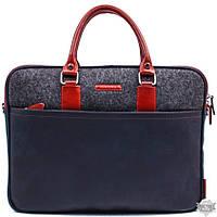 Кожаная синяя сумка для ноутбука Valenta ВМ70381510p612