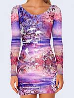 Платье Watercolor landscape Код:14128
