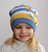 "Весенняя шапка из хлопка ""Пуговицы"" - жёлто-голубая Код:3517"