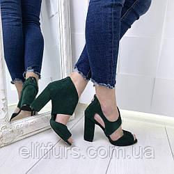 Босоножки каблук, замшевые
