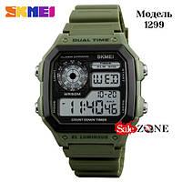 Гарантия! Подарок! Часы skmei 1299 зеленые