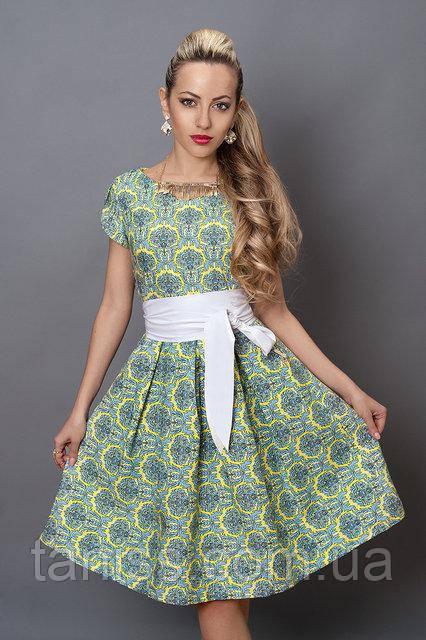 Молодіжне літнє плаття з стрейч котону з шкіряним поясом, р. 44,46 жовтий орнамент (249)