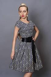 Платье из стрейчевого джинса,размер 44,46 серый орнамент (249)