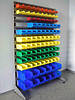 Складские ящики для хранения метизов и стеллаж с ящиками для метизов.
