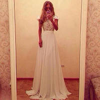 Платье длинное белое с кружевом и рукавами-крылышки (р-р 42-52)