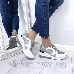 Кроссовки  экокожа + обувной текстиль
