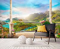 """3D фотообои """"Балкон с видом на горы"""""""