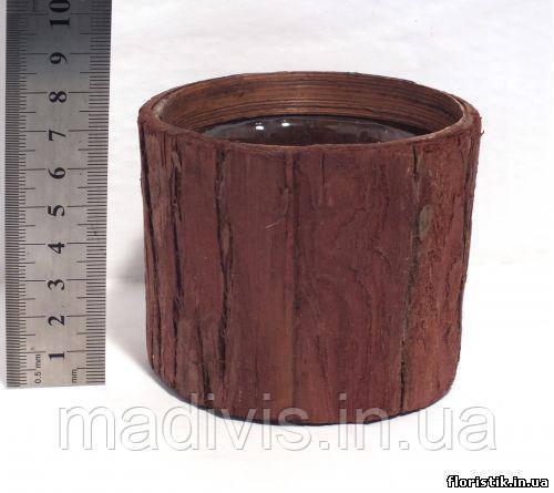 Кашпо круглое из коры со стаканом, 9 см.