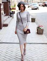 Платье женское футляр трикотажное длинный рукав весна 2018