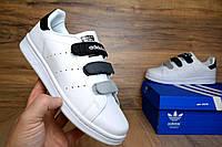 Женские кроссовки Adidas Stan Smith липучка белые с черным Топ Реплика Хорошего качества, фото 1