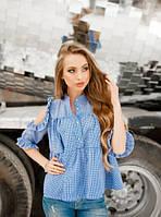 Летняя рубашка свободного покроя в синюю клетку