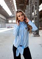 Голубая хлопковая рубашка с узелком