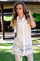 Белая длинная рубашка с кружевом на подоле