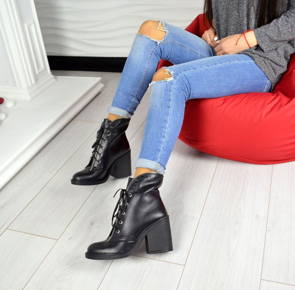 5cee83c5fcc928 Женские демисезонные ботинки на устойчивом каблуке (черные): продажа ...