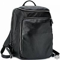 Мужской кожаный черный рюкзак TIDING BAG t3065