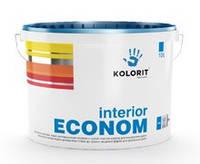 Совершенно матовая водно-дисперсионная краска на акрилатной основе, стойкая к сухому истиранию Колорит Interior Econom (10 л)