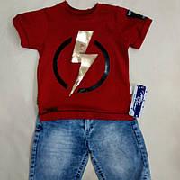 Костюм для мальчика футболка + шорты джинсовы размер 92.98.104.110
