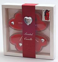 Набор свечей в стеклянных подсвечниках (4 шт) Сердце BonaDi RF-D52