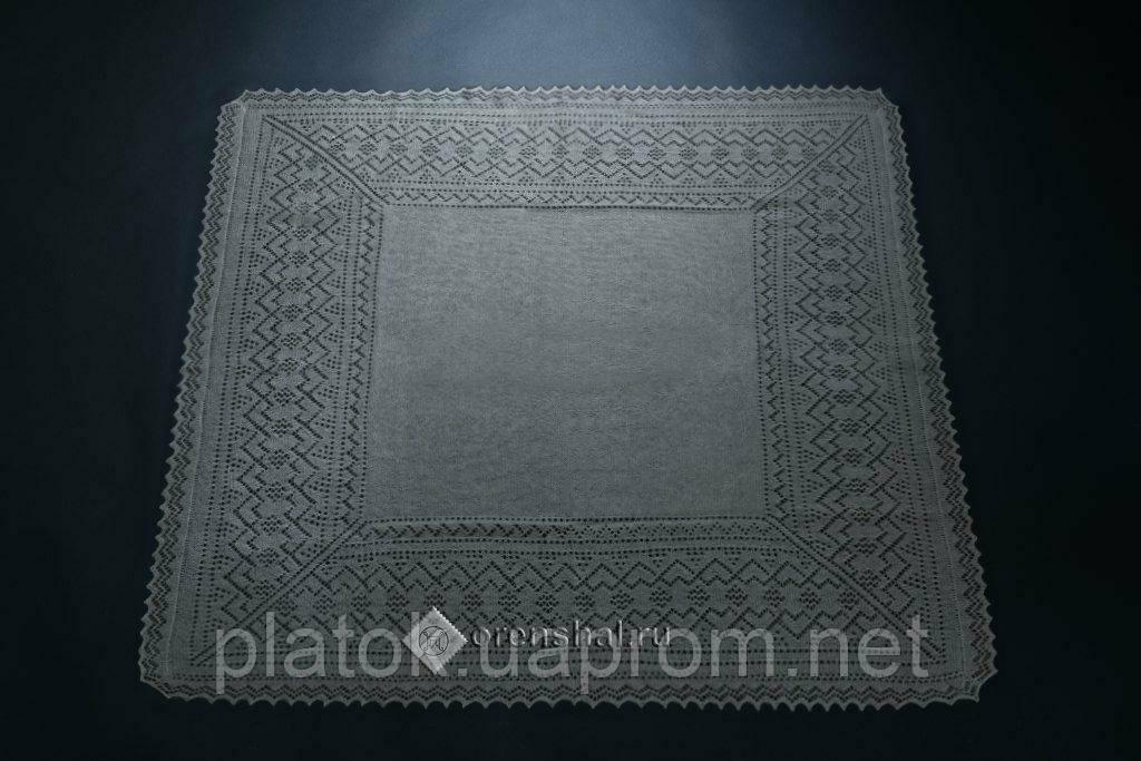 Платок фабричный П2-100-03, серый, оренбургский платок