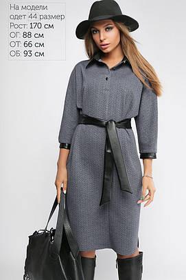 Платье женское с кожаной отделкой Джинс +