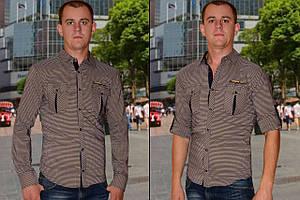 Мужская рубашка коричневая